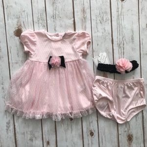 LITTLE ME Pink Lace Dress Diaper Cover Headband
